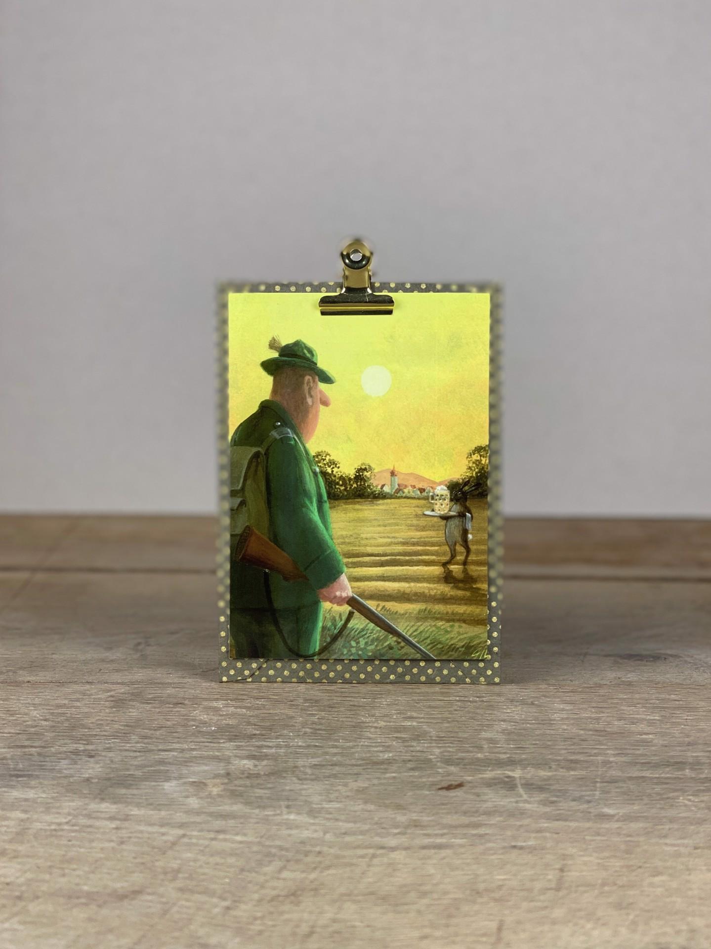 Postkarte Osterhase im Feld