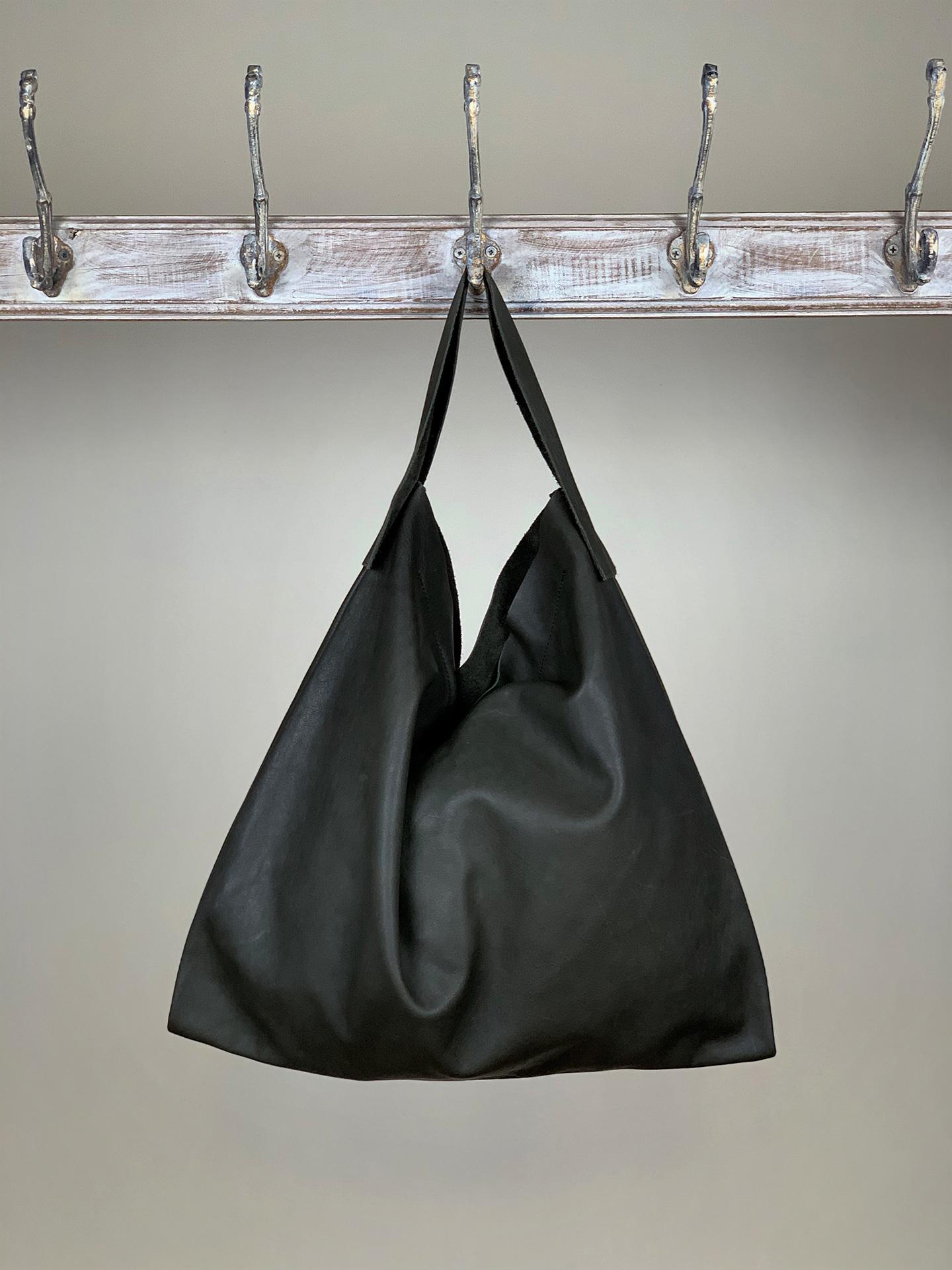 Damen-Handtasche Leder schwarz