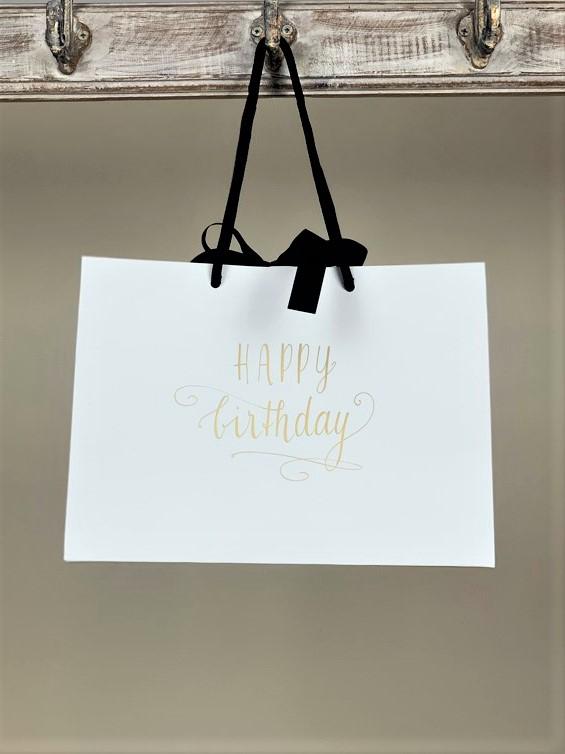 Geschenktasche Happy Birthday weiss