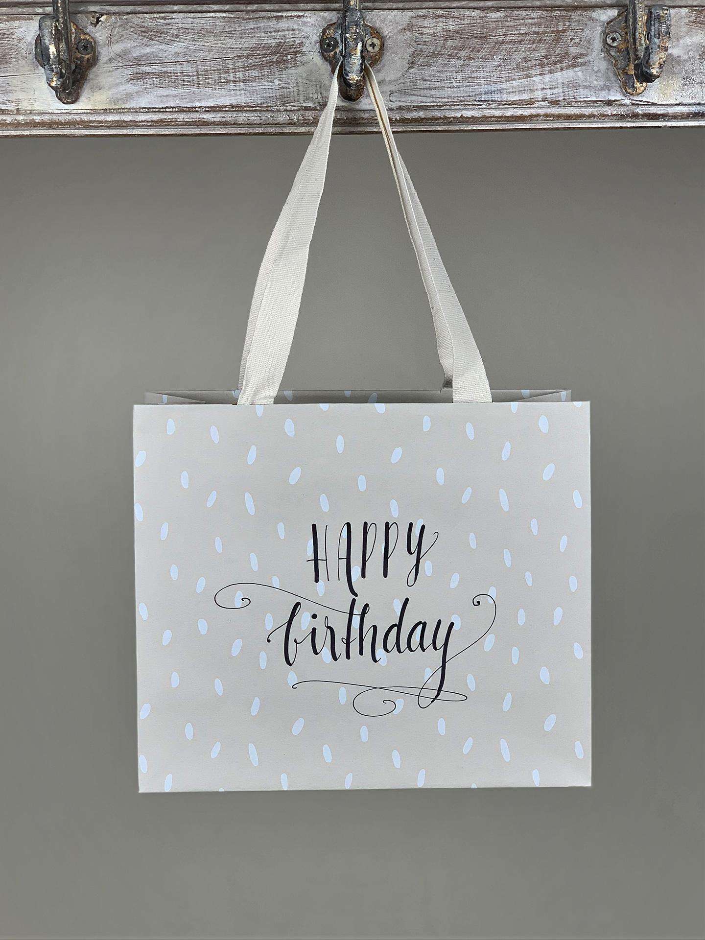 Geschenktasche Happy Birthday gemustert