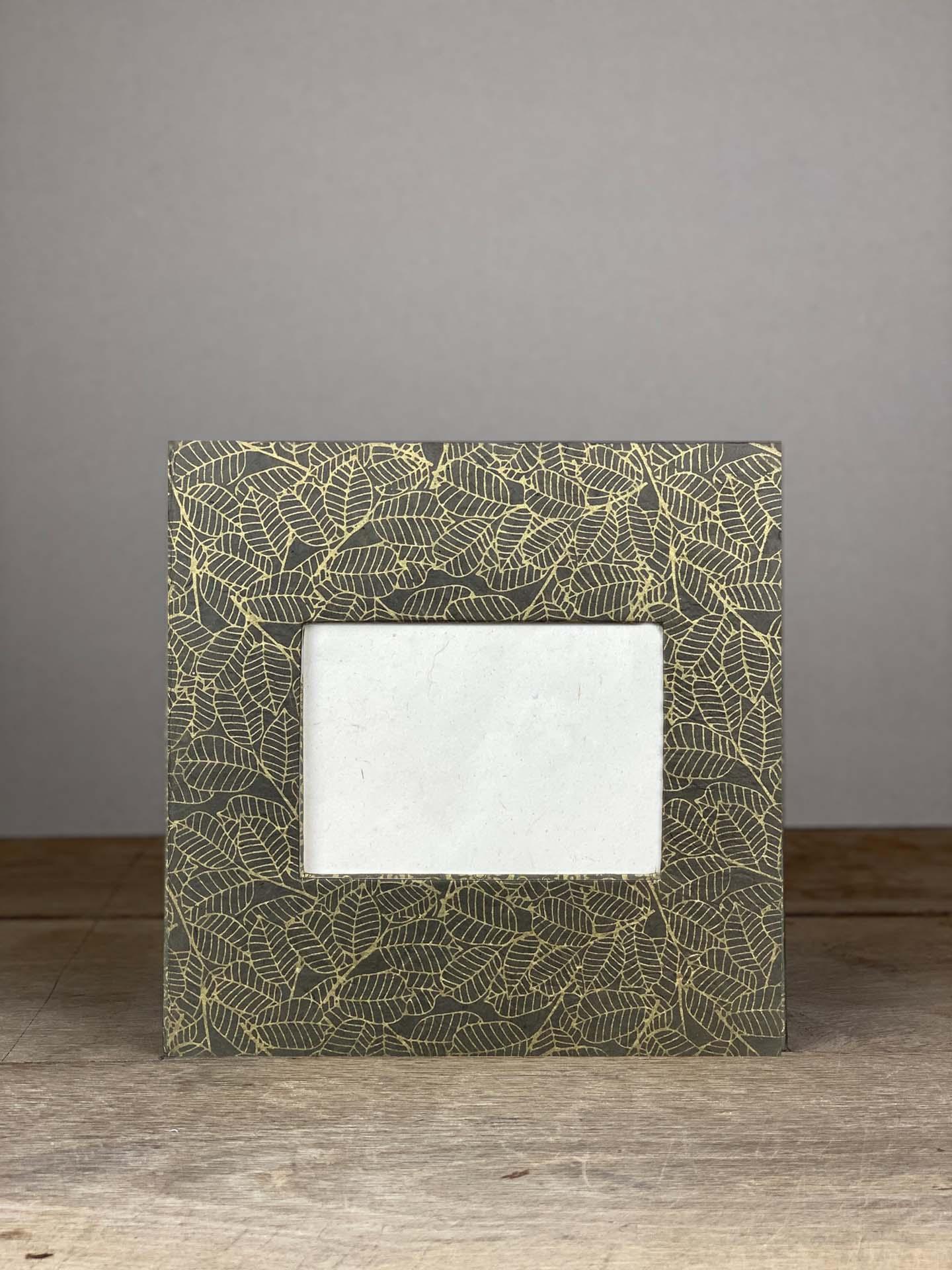 Album Hardcover Quart grau/gold Blätter