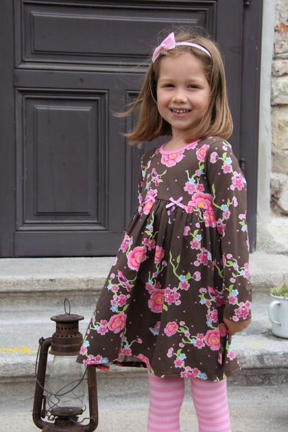 Kleid Blumen braun/rosa