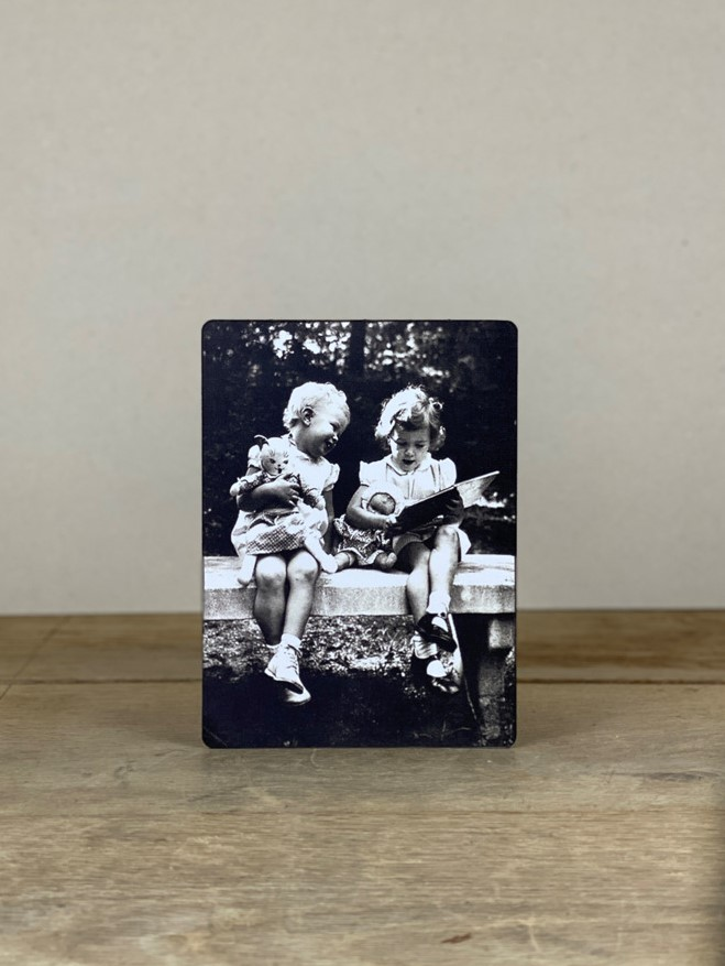 Vintage Holzbild Freundinnen