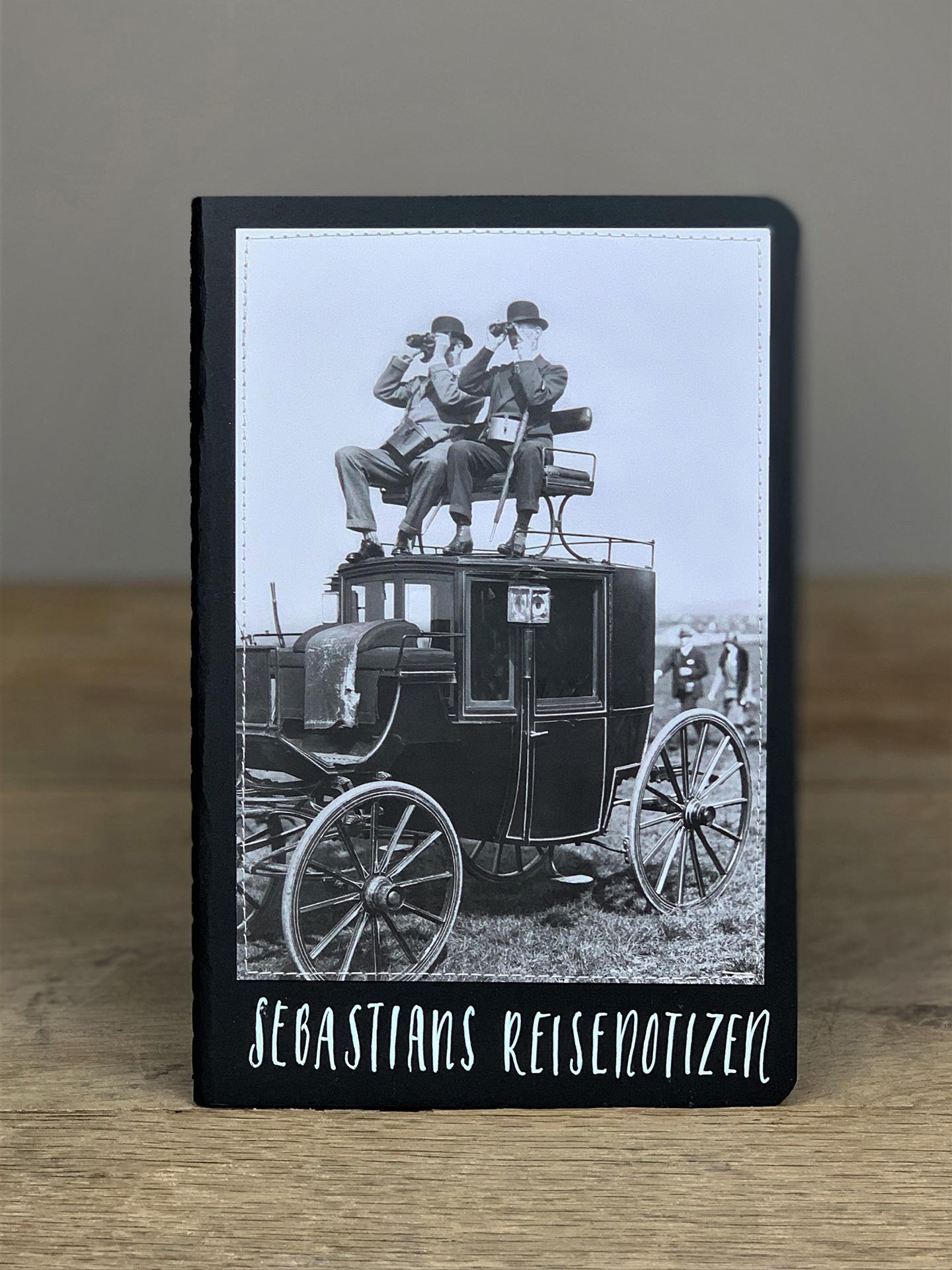 Heft B5 Reisenotizen Männer Kutsche schwarz KH6