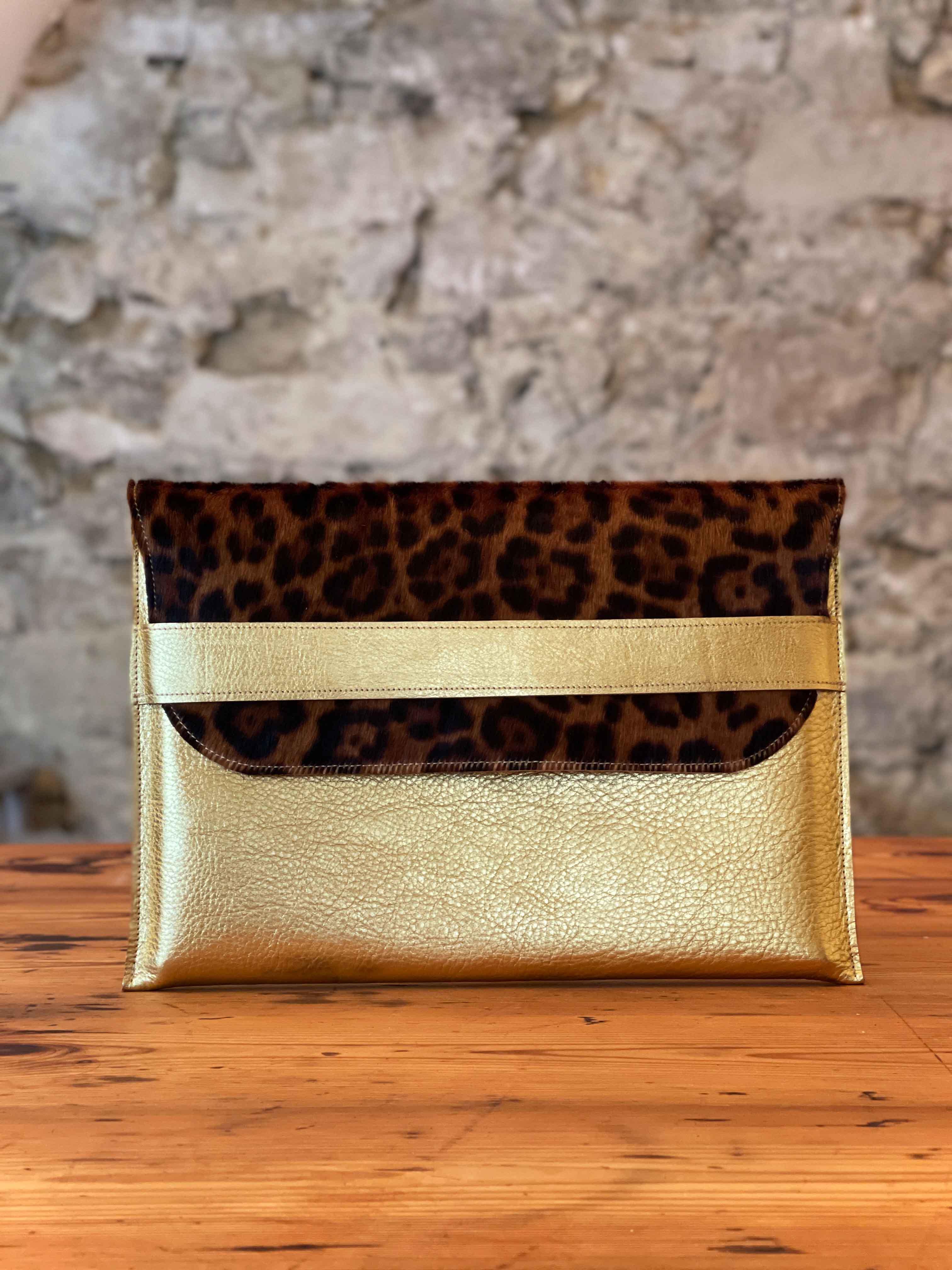 Laptoptasche Leder gold/Leo