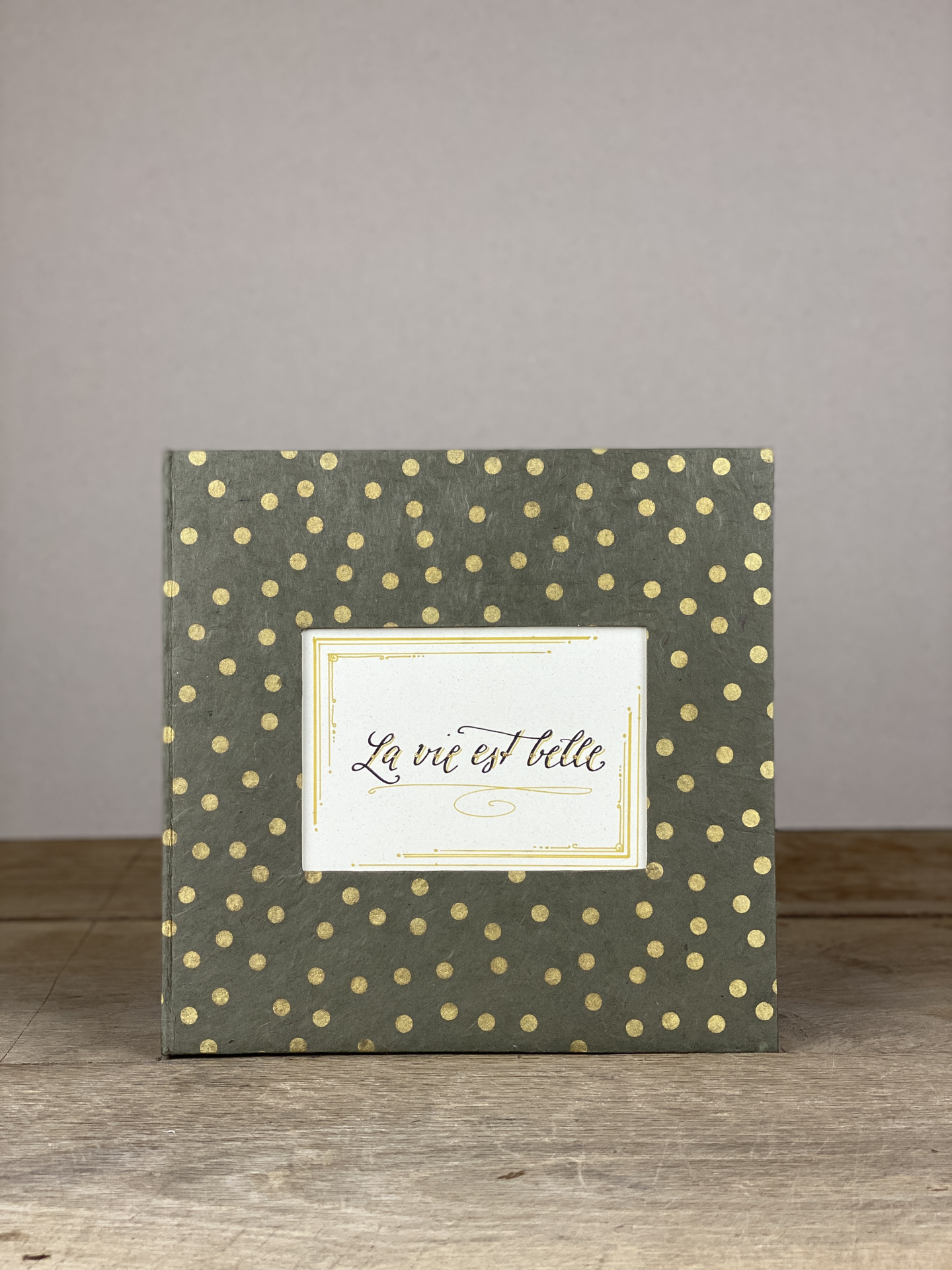 Album Hardcover Quart grau/gold dots