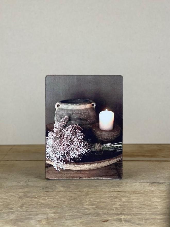 Vintage Holzbild Blumen Kerze