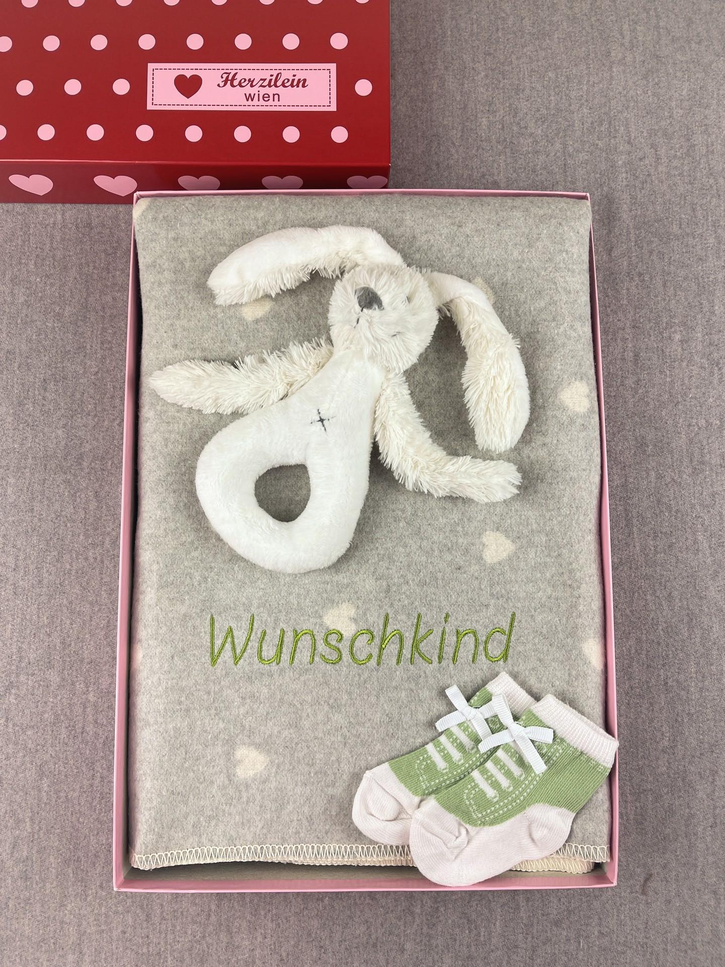 Geschenkbox No. 22 Herz grau/grün
