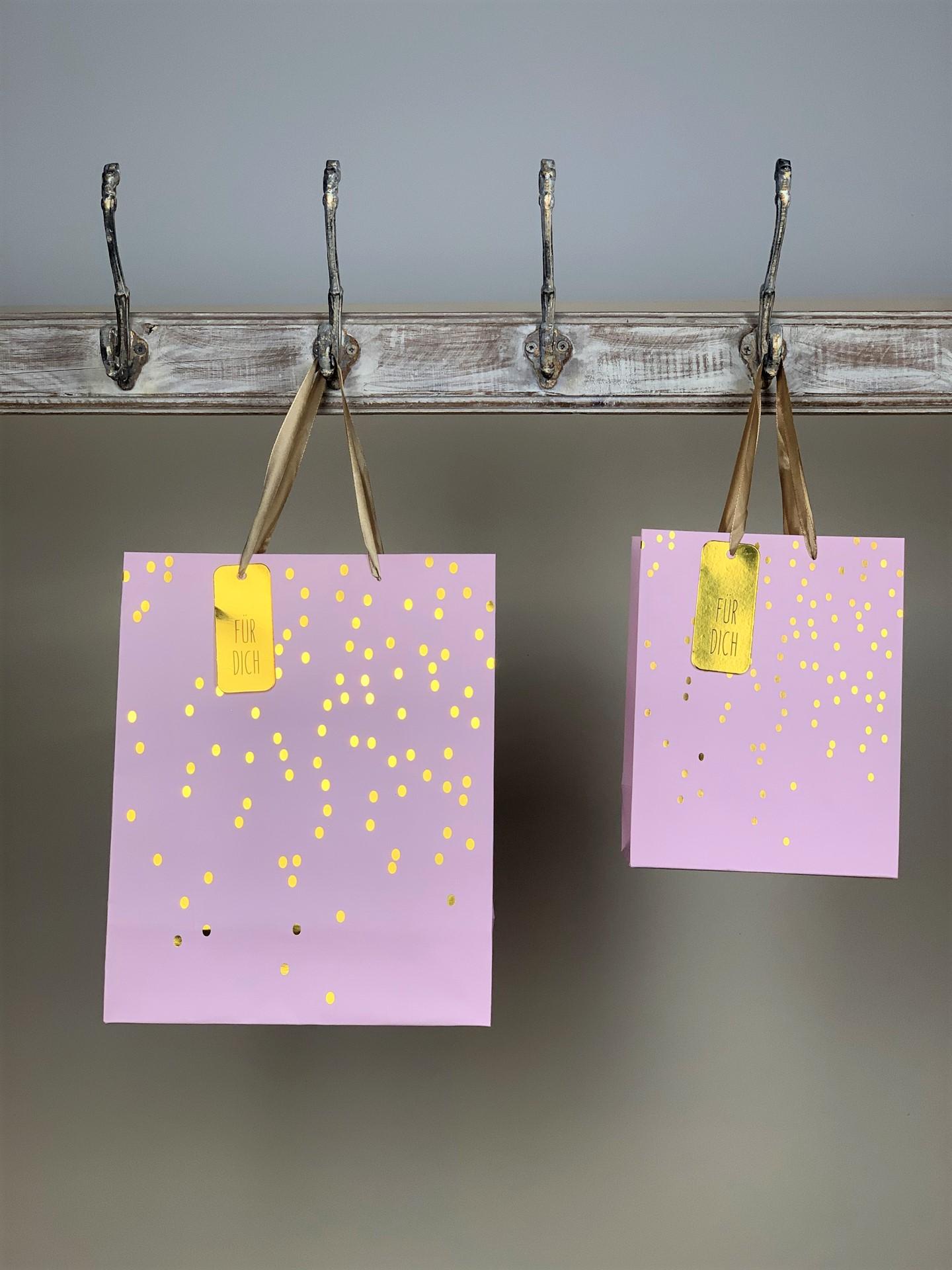 Geschenktasche gold/rosa Dots Für dich