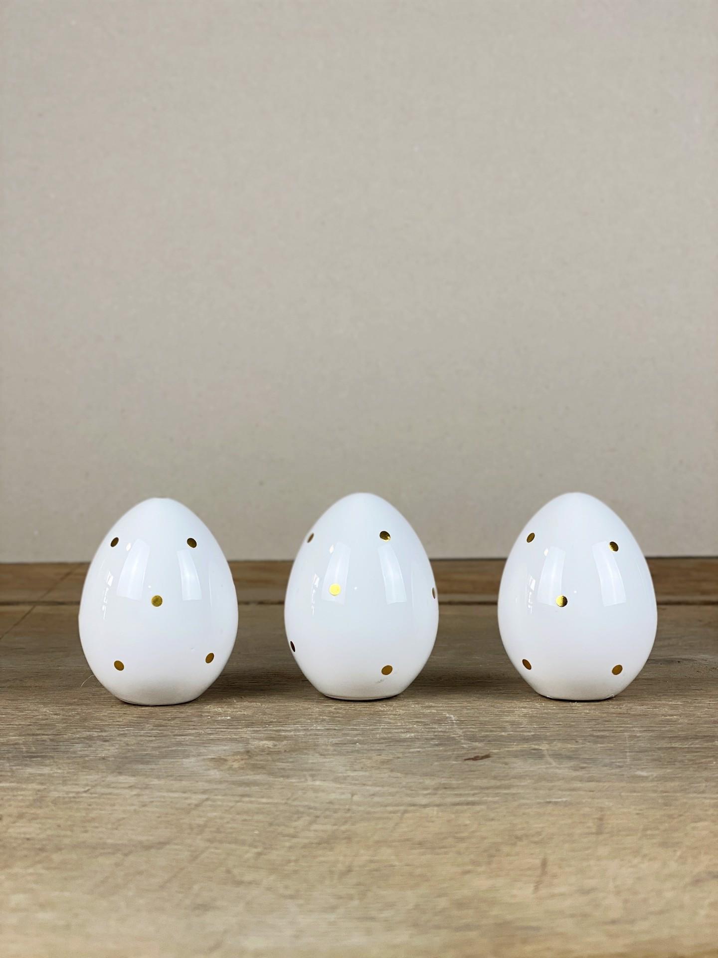 Ostereier Keramik weiß/gold Tupf
