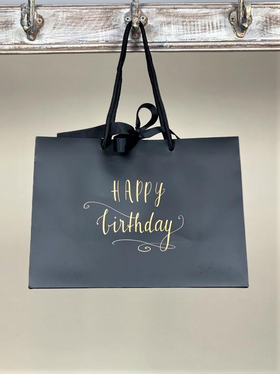 Geschenktasche Happy Birthday schwarz