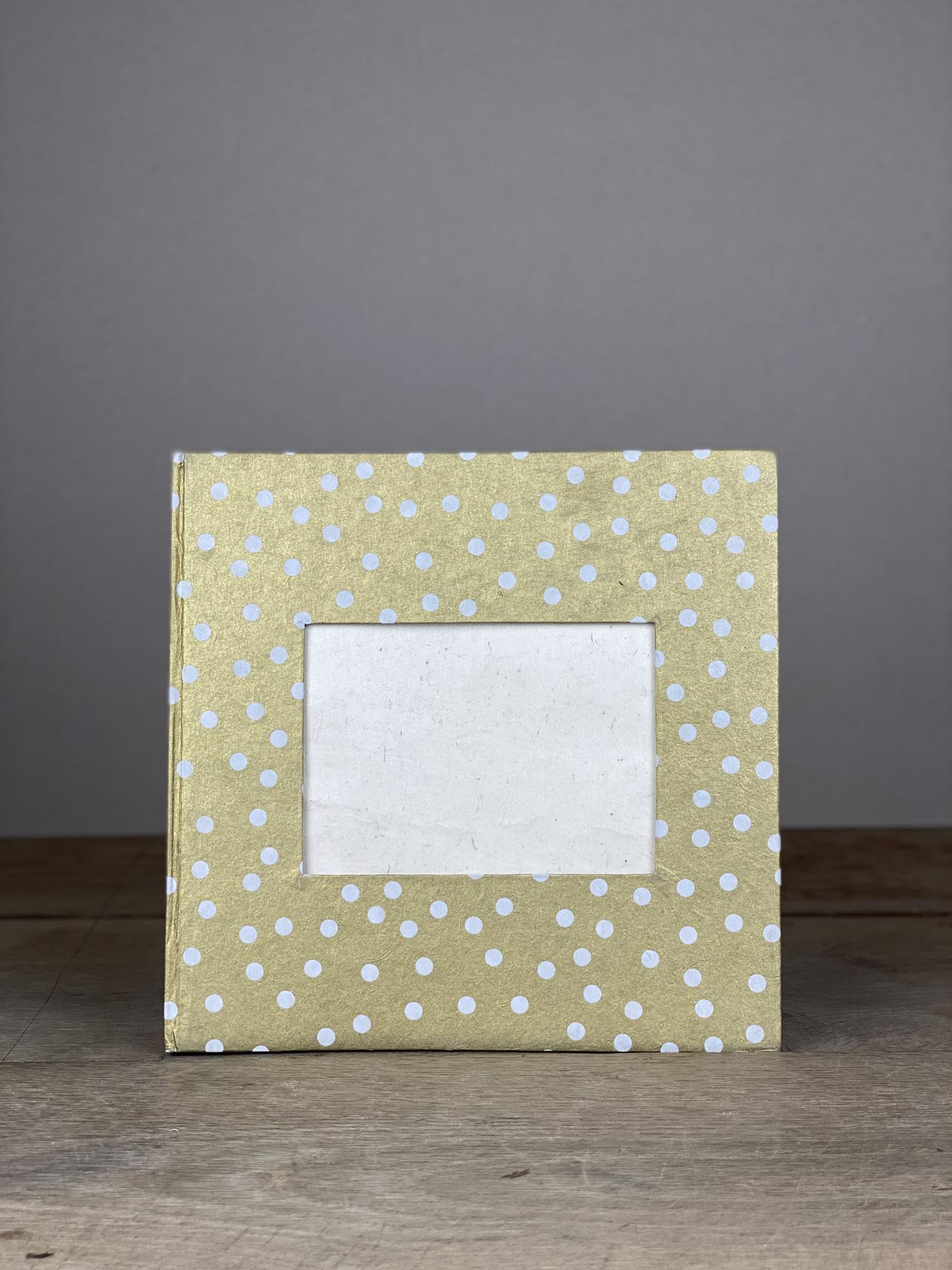 Album Hardcover Quart gold/weiß Dots