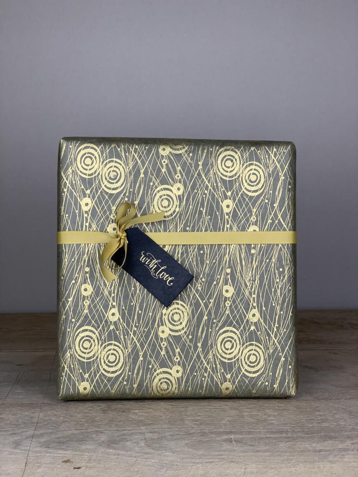 Geschenkpapier handgeschöpft Kreise grau/gold