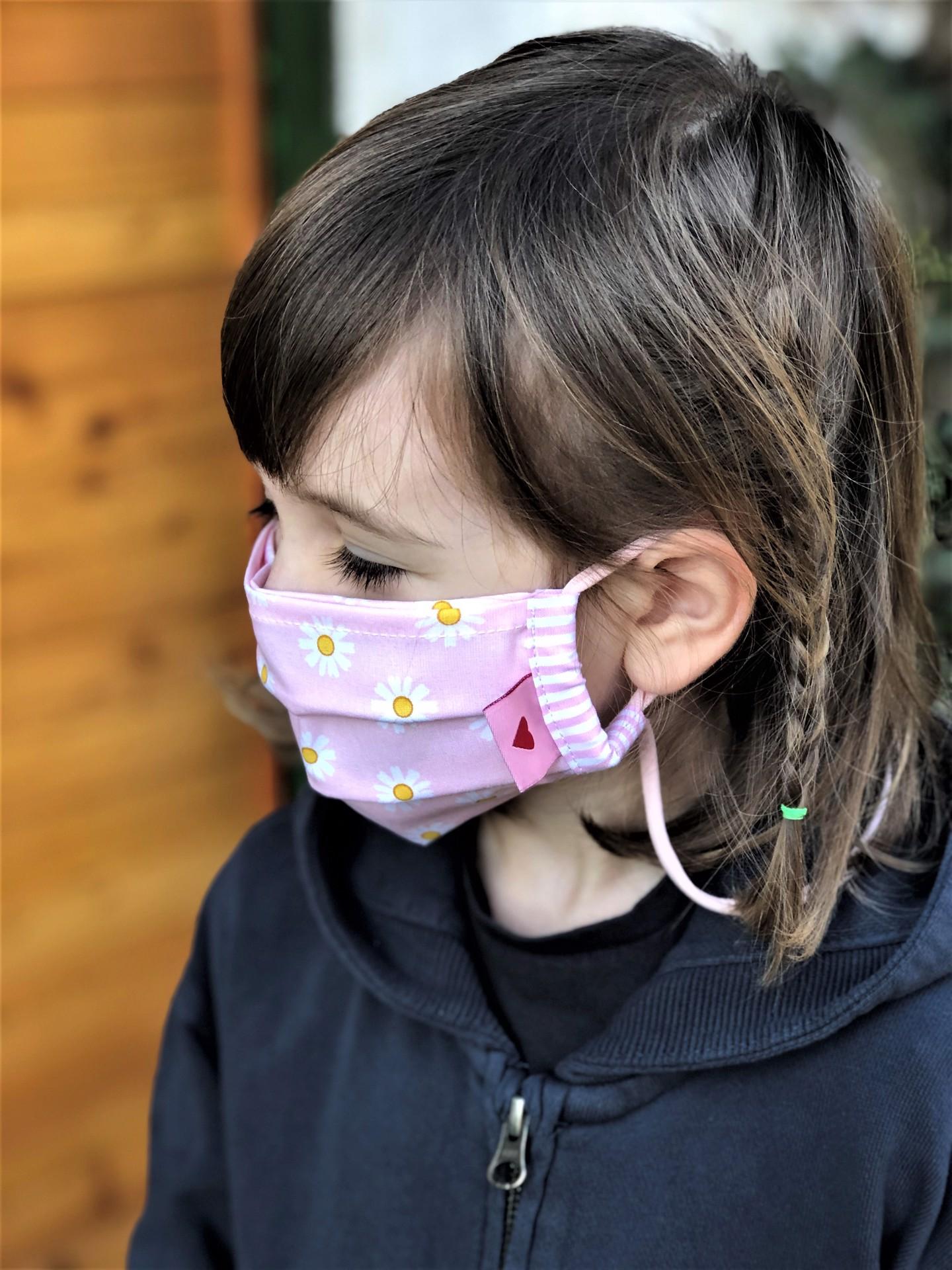 Kindermaske  Gänseblümchen  rosa