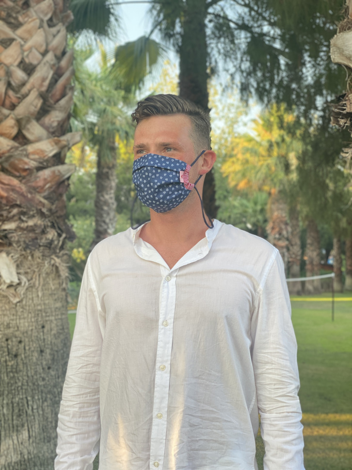 Herzilein Stoffmaske  Men dunkelblau Anker