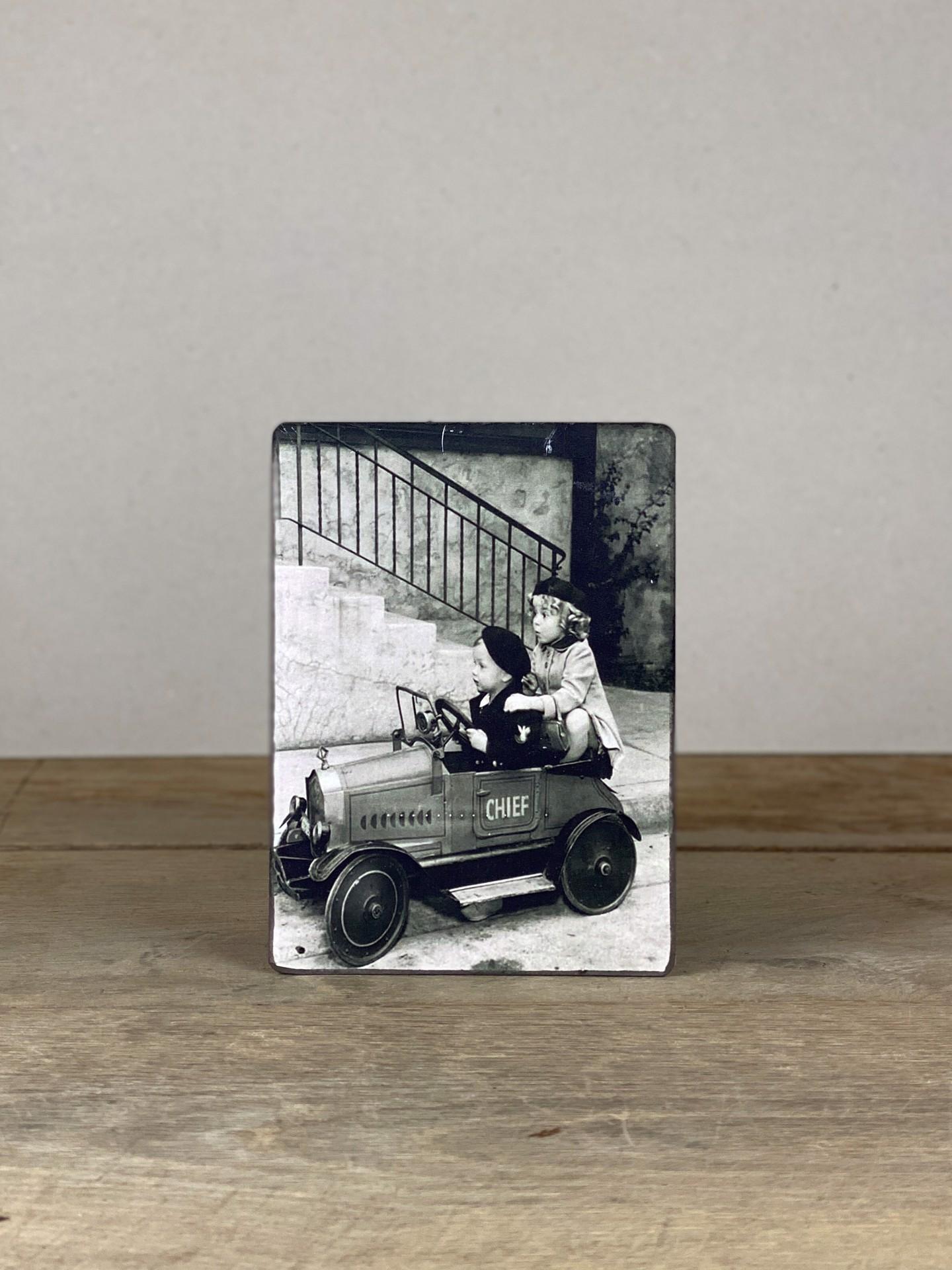 Vintage Holzbild Kinder Auto
