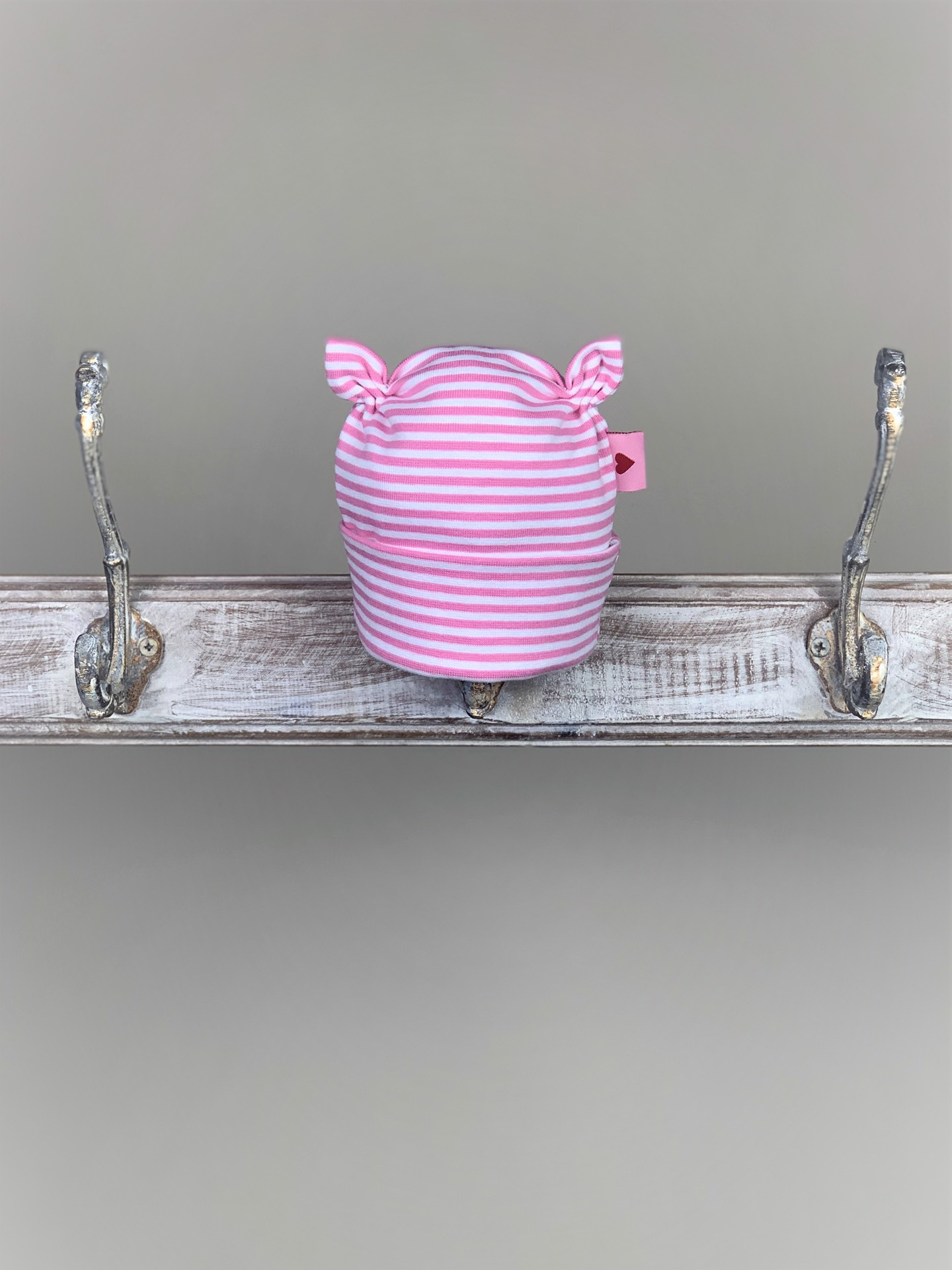 Baby Haube rosa gestreift