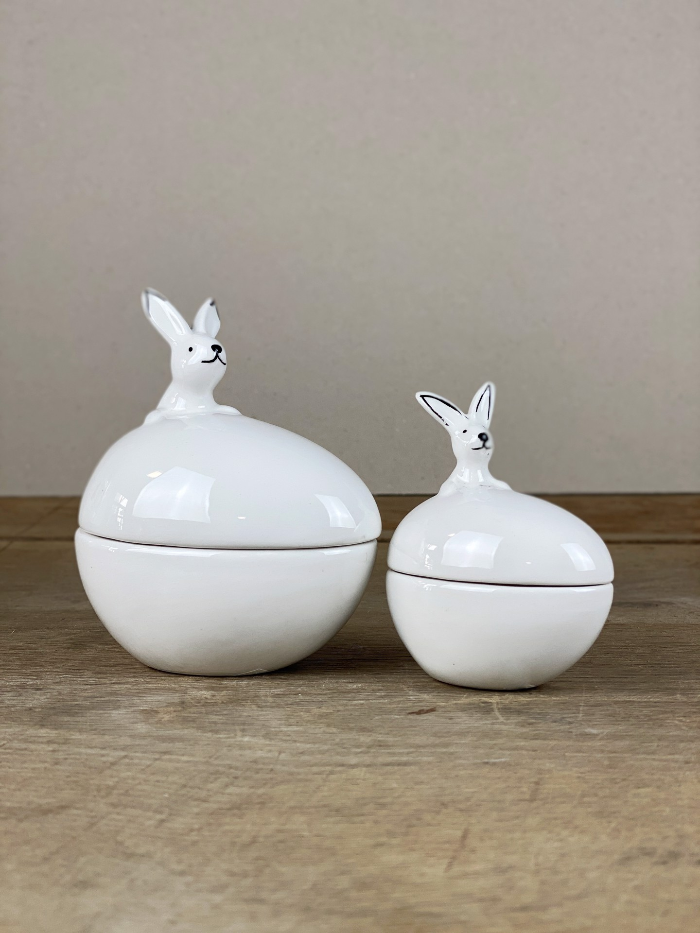 Keramikdose Osterhase weiß groß/klein