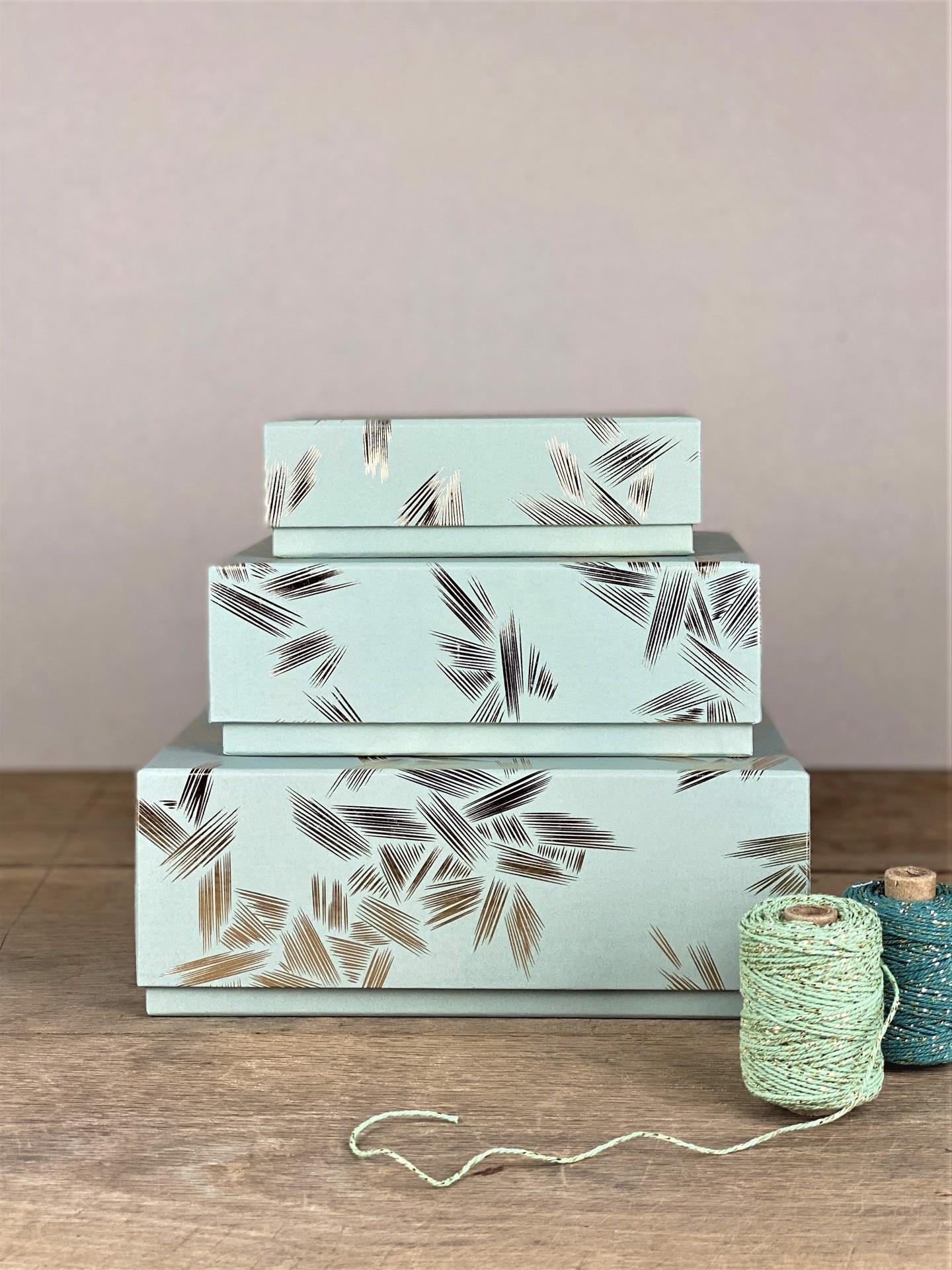 Geschenkbox mint ornamente