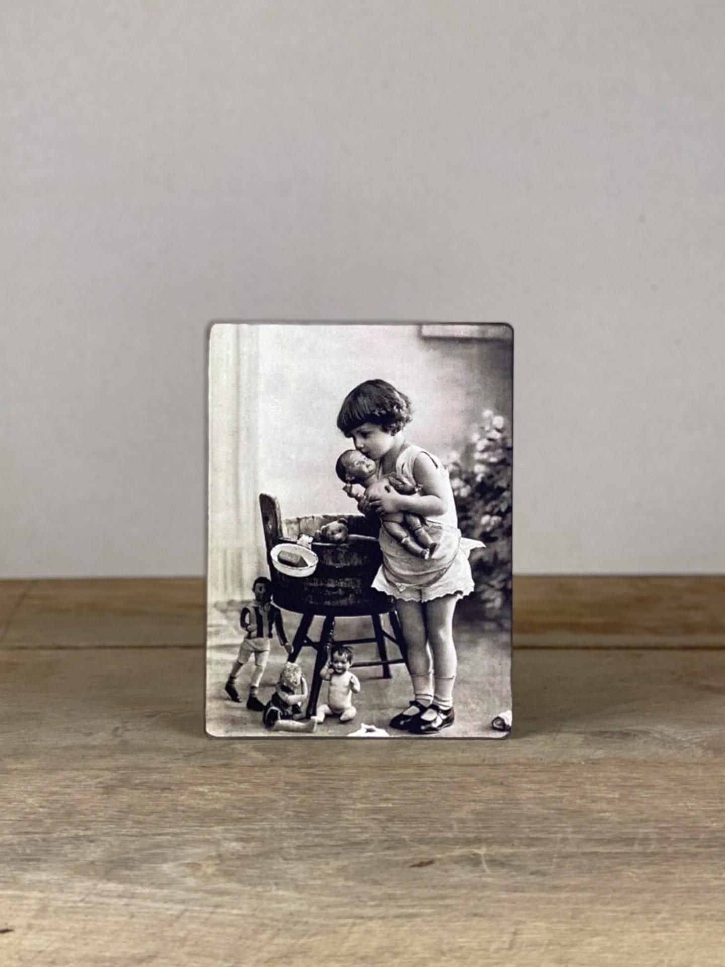 Vintage Holzbild Puppen