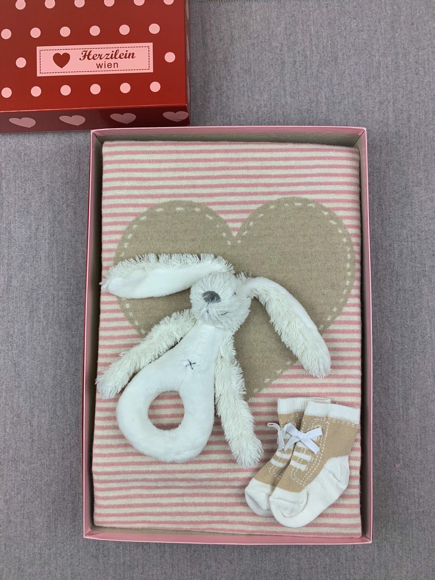 Geschenkbox Set No. 10 rosa/beige Herz