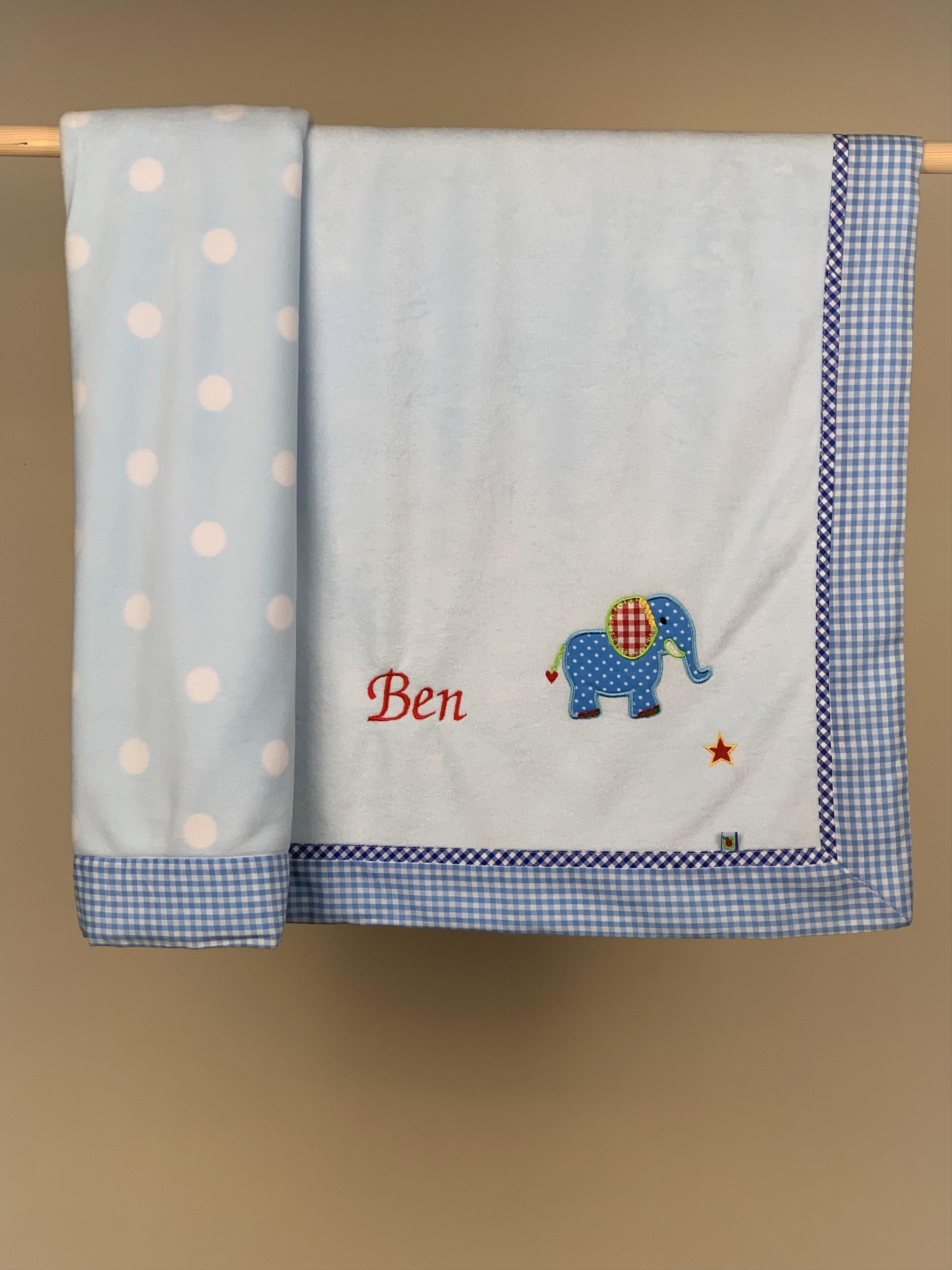 Babydecke No. 02 Elefant blau