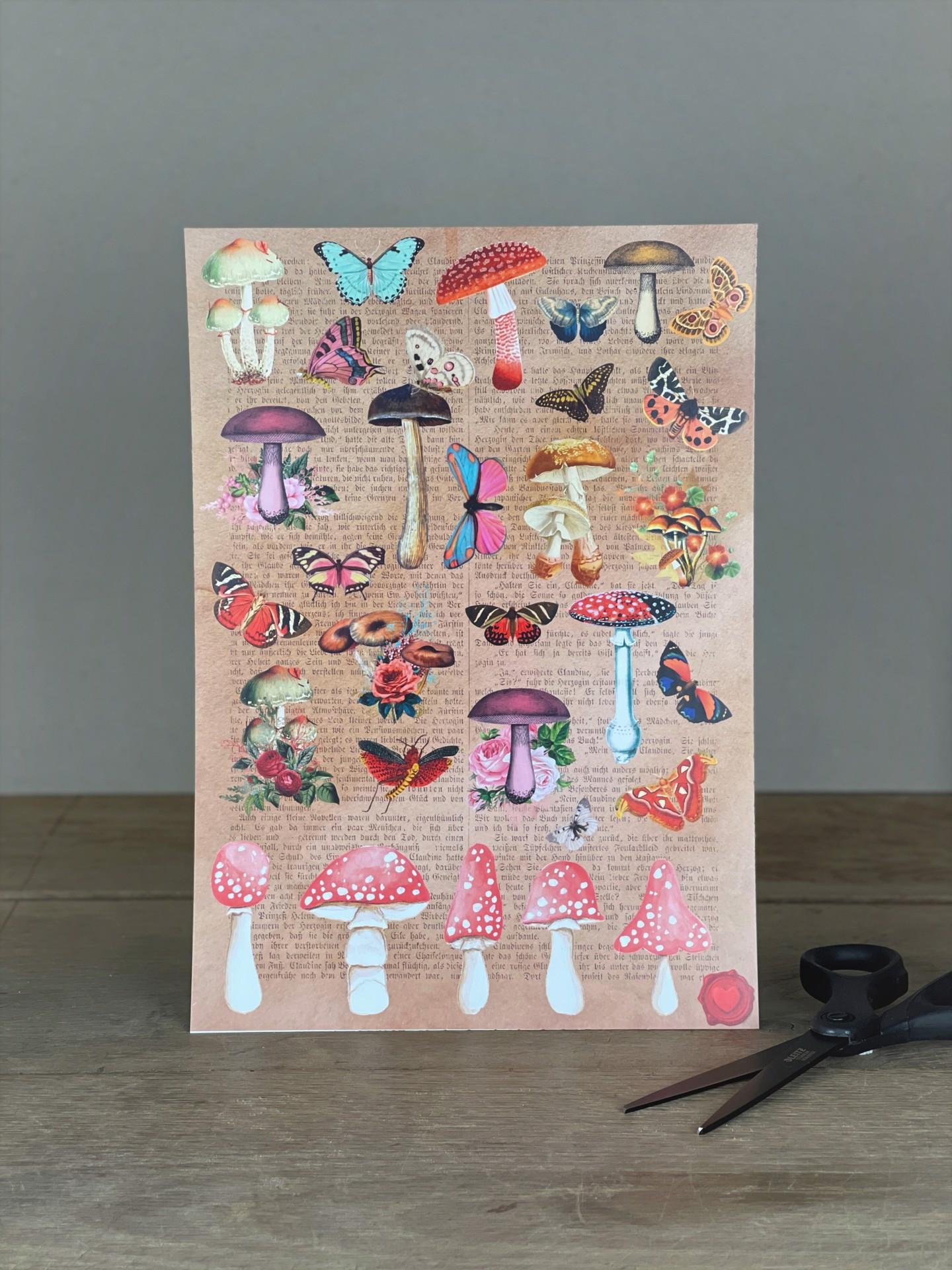 Stickerbogen Pilze