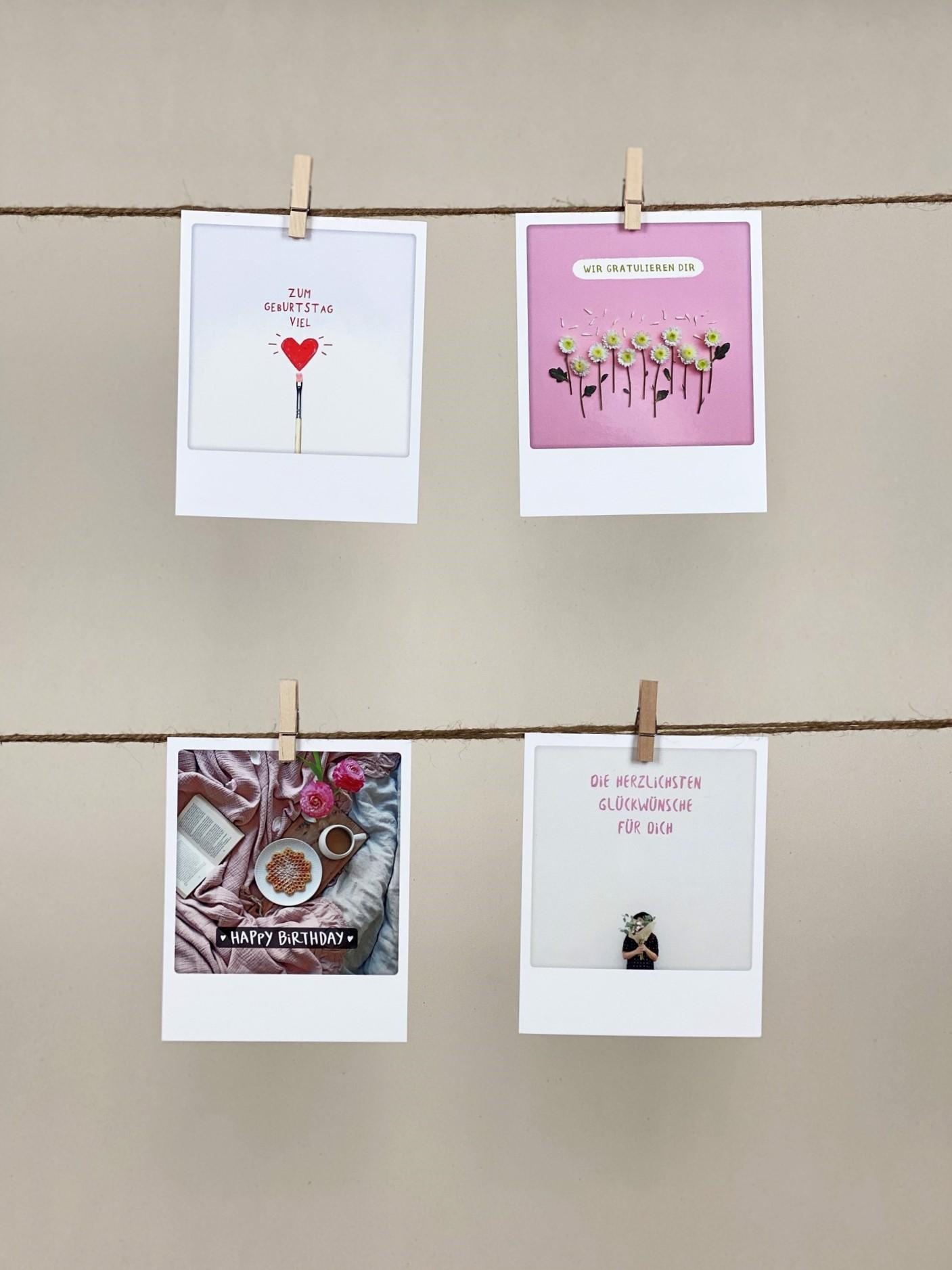 Polaroid-Karten-Set Geburtstag rosa